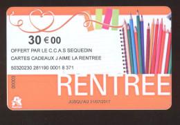 GIFT CARD - Carte Cadeau Auchan - RENTREE - 30 € - Cartes Cadeaux