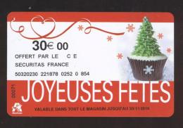 GIFT CARD - Carte Cadeau Auchan - JOYEUSES FETES - 30 € - Cartes Cadeaux