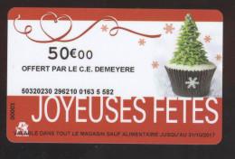 GIFT CARD - Carte Cadeau Auchan - JOYEUSES FETES - 50 € - Cartes Cadeaux