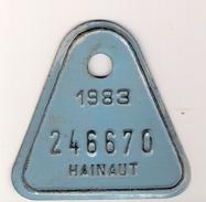 Plaque De Vélo Hainaut 1983 - Plaques D'immatriculation