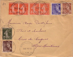 VAUCLUSE - MALAUCENE - SUPERBE AFFRANCHISSEMENT A 1F AVEC SEMEUSE ET MERCURE - LE 16-12-1940. - Marcophilie (Lettres)