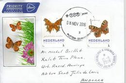 Papillons Comma (Robert-le-Diable) Sur Lettre Pays-Bas, Adressée ANDORRA Avec Timbre à Date Arrivée - Butterflies
