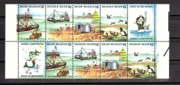 LA MER - Belgique 1988 - N° 2273 à 2276 En 2 Bandes Attenantes (vignettes Sirène Et Neptune)  - Neufs ** - Vacances & Tourisme