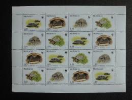 Monaco 1991 - Hermann´s Tortoise - Turtle - Complete Mini Sheet (4 Sets) - W.W.F.