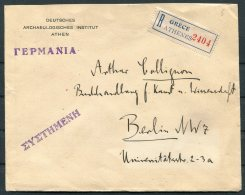1927 Greece, Deutsches Archaelogisches Institut, Athens Registered Cover - Berlin, Germany - Greece