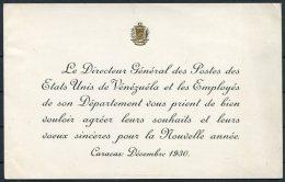 1930 Venezuela Post Office Official Postmaster General Christmas / New Year Card - Venezuela