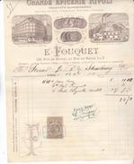 75 Paris 1883 Facture Illustrée Grande épicerie Rivoli E Fouquet 138 Rue Rivoli Et 1/3 Rue Du Roule. Tb état. - France