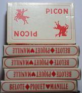 PICON  LOT DE 5 JEUX DE 32 CARTES NEUF JAMAIS UTILISER - 32 Cartas