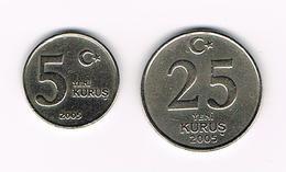 °°° TURKIJE  5 En 25  YERI KURUS 2005 - Turquia