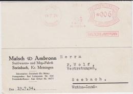 DR 3 Reich Freistempel Mop Kte Steinbach-Hallenberg Thüringen 1934 - Germany
