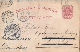SOUTH AFRICA → 1896 Prepaid Printed Postcard To Germany - Multiple Cancels - Südafrika (...-1961)