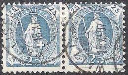 13 Vertikalzähne WZ I 1907: Zu 93A Mi 81C Yv 94a  - 25c Blau Im Paar Mit O WALLISELLEN 18.XI.07 (Zu CHF 7.00++) - Gebraucht