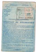 CARTE GRISE RECEPISSE DE DECLARATION AUTOMOBILES N° 7  500F 6 DEC 1952  MOTO LE BOUPERE 85 VENDEE  2 SCANS