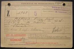 France: Fascicule De Mobilisation  Classe 1928 Pour Firmin Menoud à Agen, Né En 1912 - Documents