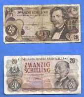 2 Stück 20 Schilling Banknoten 1956+1967, Beide Banknoten In Gebrauchtem Zustand - Oesterreich