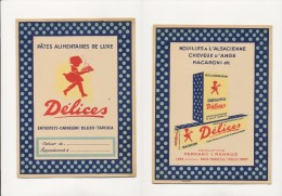 Publicité - Protege-Cahiers - DELICES - Buvards, Protège-cahiers Illustrés