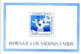 MISS104 - COSTARICA  1961 , 15mo Dell´ ONU BF 5 ***  MNH - Costa Rica