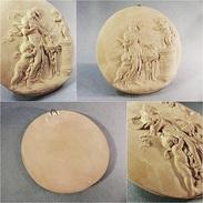 *MEDAILLON EN TERRE CUITE FEMME & ANGES - Sculpture Ange Bas Relief Médaille - Sculptures