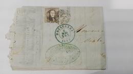 Correspondance Daté 1854 + Timbre 10 Cents Leopold 1er + Tampon Bruxelles - Belgique