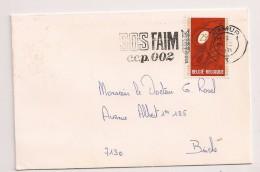 BRIEF LETTRE COB 1550 Seul / Alleen Flamme SOS FAIM C.c.p 002 NAMUR 1971 - Belgium