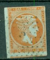 Greece Large Hermes Head 1862-1867 10 Lepta Hellas 18e  Red Orange On Blue - 1861-86 Large Hermes Heads