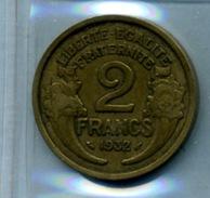 1932  2 Francs TYPE MORLON Bronze-al - Frankrijk
