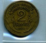 1934  2 Francs TYPE MORLON Bronze-al - Frankrijk