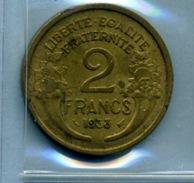 1933  2 Francs TYPE MORLON Bronze-al - France
