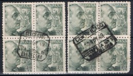 Dos Bloques De 4 Sellos 40 Cts Caudillo, Fechadores Certificados BARCELONA, Num 925 º - 1931-Today: 2nd Rep - ... Juan Carlos I