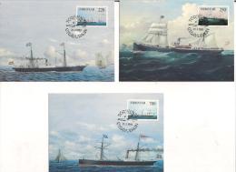 Faroe Islands 1983 Steam Ships  Mi 79-81 In Maximum Cards - Féroé (Iles)