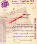 75 - PARIS -FACTURE FACTURE MAURICE CNOCKAERT-DECALCOMANIES VITRIFIABLES CERAMIQUES PORCELAINE VERRE-6 RUE HERSCHEL-1925 - France