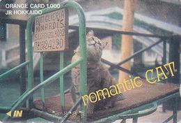 Carte Ancienne Orange Japon - ANIMAL - CHAT HOKKAIDO - ROMANTIC CAT Japan Prepaid JR Card - KATZE - 3322 - Gatos