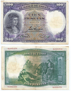 España - Spain 100 Pesetas 1931 Pick 83 Nº Baja Ref 678-2 - [ 1] …-1931 : Primeros Billetes (Banco De España)