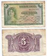 España - Spain 5 Pesetas 1935 Pick 85.a Ref 1197 - [ 2] 1931-1936 : République