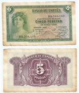 España - Spain 5 Pesetas 1935 Pick 85.a Ref 1202 - [ 2] 1931-1936 : Republiek