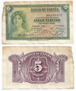 España - Spain 5 Pesetas 1935 Pick 85.a Ref 1203 - [ 2] 1931-1936 : Republic