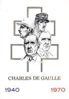 """FRANCE 1980 : Encart 1° Jour De LUXE CERES N°té Sur SOIE De 4 Pages """" CHARLES DE GAULLE """". N° YT 2114  Parfait état. FDC"""