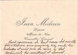 EMA - PARIS - ASSEMBLEE NATIONALE - CARTE DE VISITE AVEC PETIT MOT DE - JEAN MEDECIN - DEPUTE - MAIRE DE NICE - CONSEILL - Autogramme & Autographen