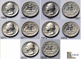 US - 5 Coins - Quarter Dollar - (1965-1967-1971-1972-1973) - Émissions Fédérales