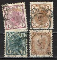 AUSTRIA - 1904 - EFFIGIE DI FRANCESCO GIUSEPPE I - VALORI IN HERREN - CIFRE COLORATE - CON LINEE BRILLANTI - USATI - Used Stamps
