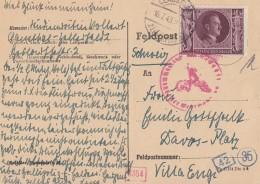 DR Karte EF Minr.848 Clausthal 16.7.43 Gel. In Schweiz Zensur - Deutschland