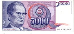 Jugoslavia P.93 5000 Dinars 1985   Unc - Yugoslavia