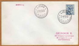Enveloppe Cover Brief Imprimé 841 Foire Internationale Liège - Bélgica