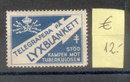 TELEGRAFERA PA LYXBLANKETT - STOD KAMPEN MOT TUBERKULOSEN - RARISIME SWEDIS SWEDEN  OLD  VIGNETTE LABEL CINDERELLA - Erinnofilie