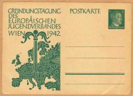Carte Entier Postal Deutsches Reich Grundungstagung Des Europaeischen Jugendverbandes Wien 1942 - War 1939-45