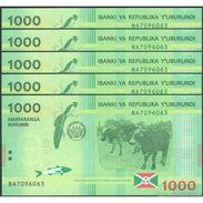 TWN - BURUNDI 51 - 1000 1.000 Francs 15.1.2015 DEALERS LOT X 5 - Prefix BA UNC - Burundi