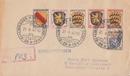 Fr. Zone R-Brief Mif Minr.2,3,6,7,8,10 SST Lindauer Herbstwoche 21.9.47 - Französische Zone