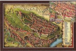 2016 Romania, Roumanie, Rumanien, 2 Scans Sighisoara Town Map Entiere Maximum Card Cover - Cartes-maximum (CM)