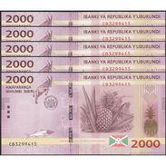 TWN - BURUNDI 52 - 2000 2.000 Francs 15.1.2015 DEALERS LOT X 5 - Prefix CB UNC - Burundi