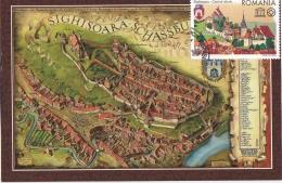 2016 Romania, Roumanie, Rumanien, 2 Scans Old Sighisoara Town Map Entiere Maximum Card Cover - Cartes-maximum (CM)